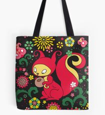 RED Squirrel with Nut. Russian Background. BLACK.  Tote Bag