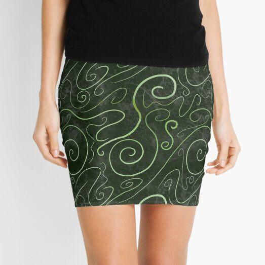 Dark Forest Green Contemporary Organic Seamless Pattern Mini Skirt