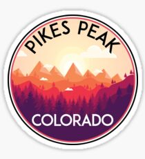 PIKES PEAK COLORADO Ski Skiing Mountain Mountains Skiing Skis Silhouette Snowboard Snowboarding Sticker