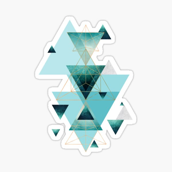 Geometric Triangle Compilation in teal, aqua and rose gold Sticker