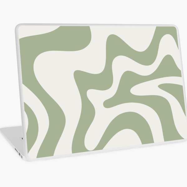 Retro Liquid Swirl Abstract Pattern Square in Sage Green and Nearly White Laptop Skin
