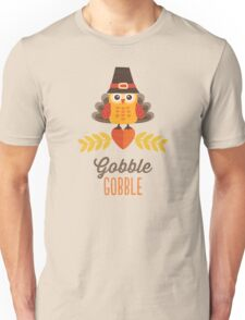 Thanksgiving Owl in Turkey Costume and Pilgrim Hat Unisex T-Shirt