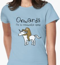 Onwards! At A Reasonable Speed (Sloth Riding Unicorn) Women's Fitted T-Shirt