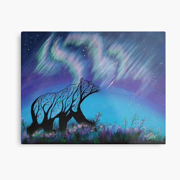 Harmony Trees: Bear Branching into the Aurora Metal Print