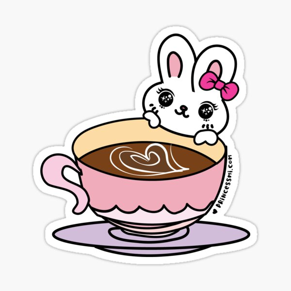 a cup of coffee with kawaii bunny Sticker
