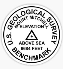 Mount Mitchell, North Carolina USGS Style Benchmark Sticker