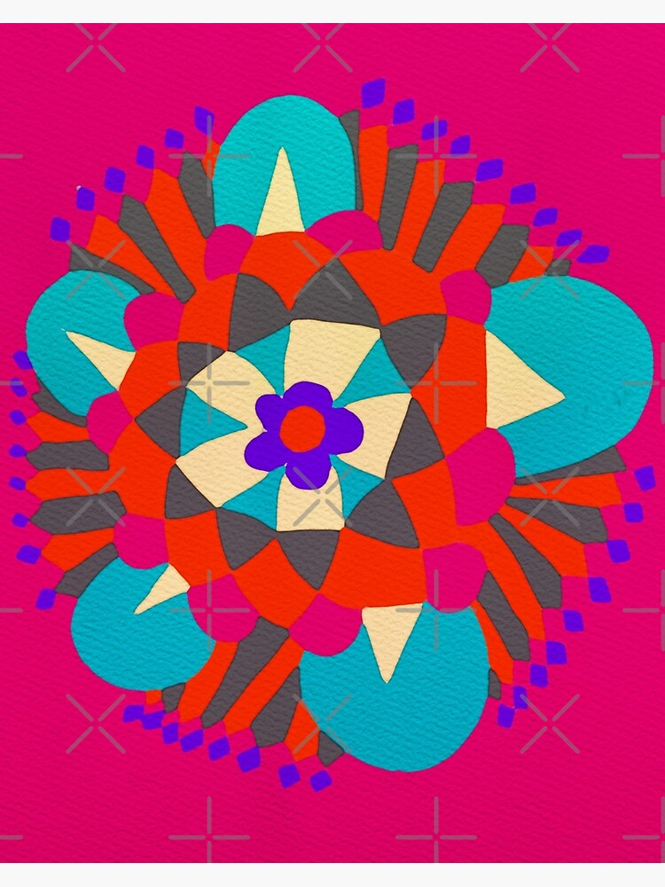 Flower Molecule - Hand Drawn Abstract Art  by OneDayArt