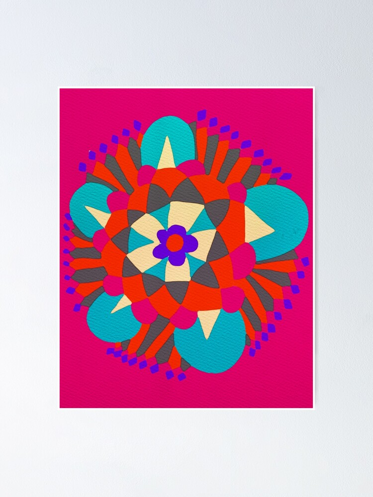 Alternate view of Flower Molecule - Hand Drawn Abstract Art  Poster