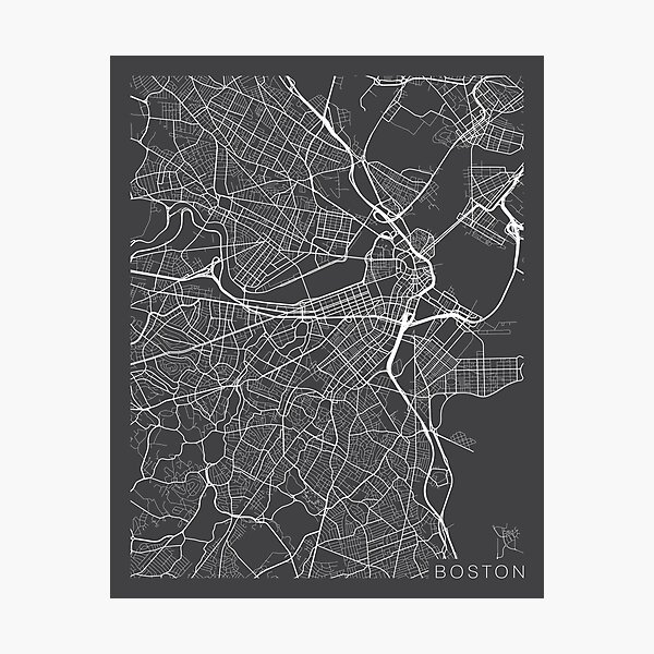 Boston Map, USA - Gray Photographic Print