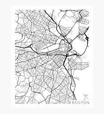 Boston Map, USA - Black and White Photographic Print