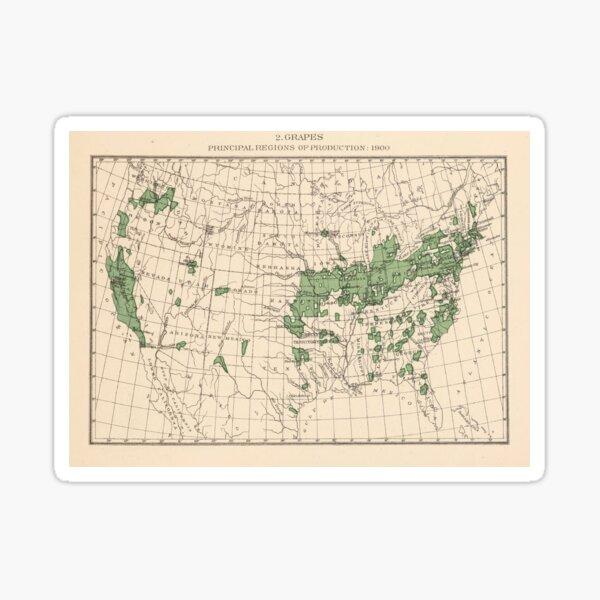 Old US Grape Farms Map (1903) Vintage American Vineyards Atlas Sticker