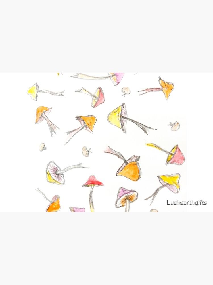 Mushroom Fantasy Pencil and Acrylic  by Lushearthgifts
