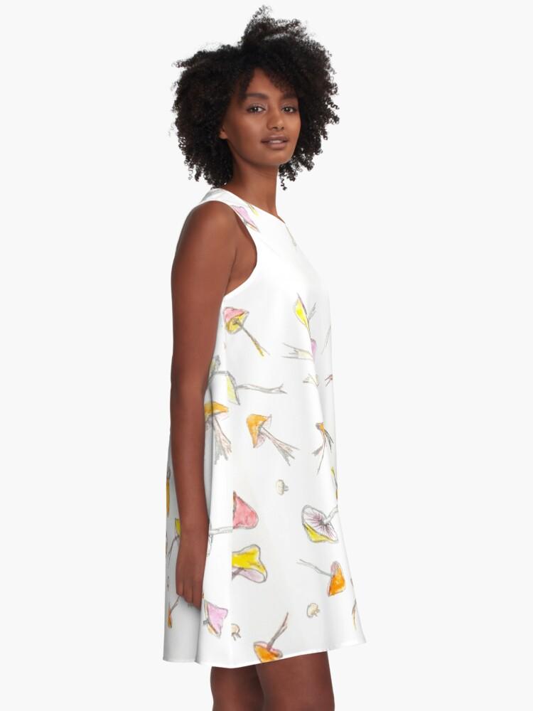 Alternate view of Mushroom Fantasy Pencil and Acrylic  A-Line Dress