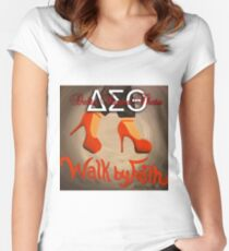 WALK BY FAITH - DELTA SIGMA THETA Women's Fitted Scoop T-Shirt