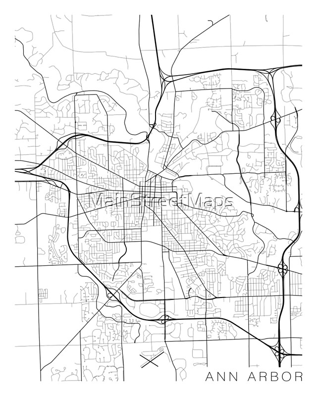 Ann Arbor Map USA Black and White Posters by MainStreetMaps – Map Usa Black and White