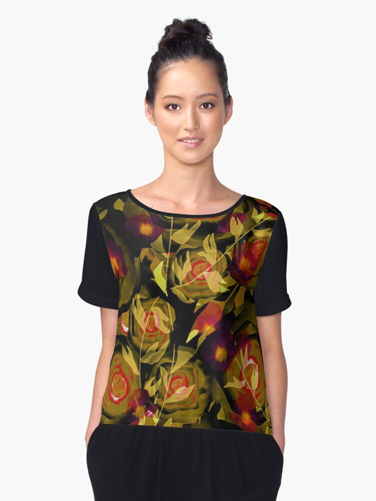 Seamless design abstraction Rose.  Women's Chiffon Top Front