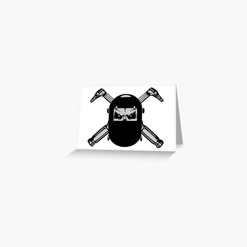 Welder Skull Logo Greeting Card By Silverorlead Redbubble
