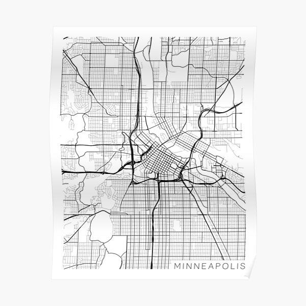 Minneapolis Map, USA - Gray Poster