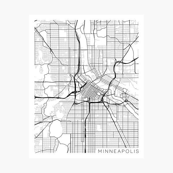 Minneapolis Map, USA - Gray Photographic Print