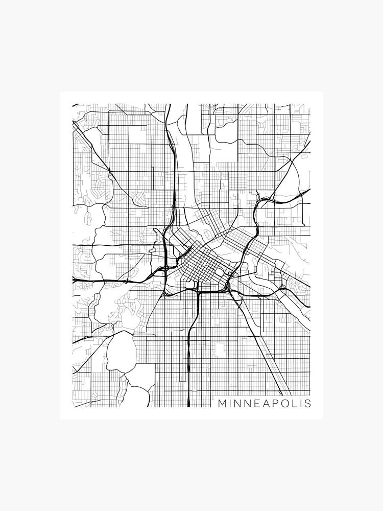Minneapolis Map, USA - Gray | Photographic Print