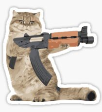 AK47 Kalashnikat Funny Cat Gun Sticker