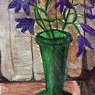 Blue Flowers,Green Vase by RobynLee