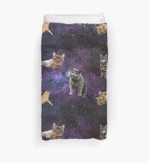 Cats Floating in a Galaxy Duvet Cover