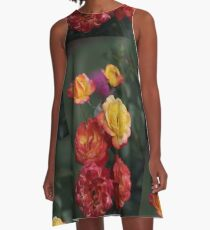 Orangy Yellow Rose Cluster Chiaroscuro  A-Line Dress
