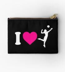 I Heart Volleyball Womens Silhouette Studio Pouch