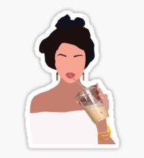 Minimalist Portrait of Selena Gomez (and her iced coffee) Sticker