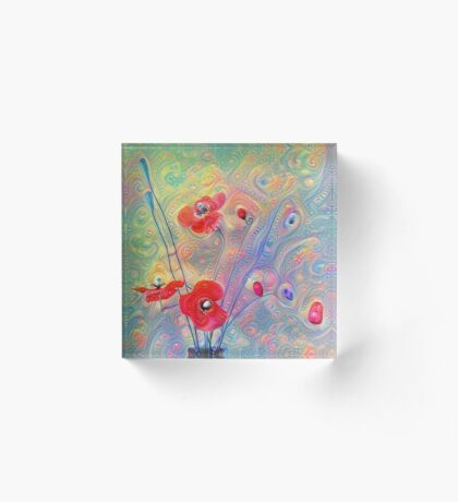 #Deepdreamed Poppies Acrylic Block