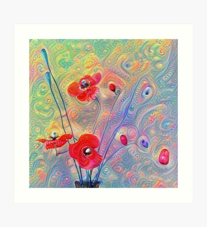 #Deepdreamed Poppies Art Print