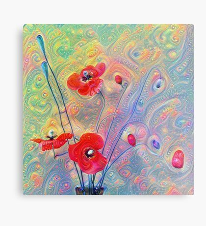 #Deepdreamed Poppies Metal Print