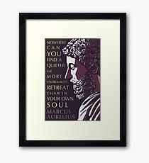 Marcus Aurelius quote: A quieter or more untroubled retreat Framed Print