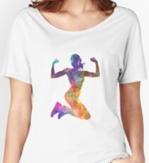 Woman runner jogger jumping powerful Women's Relaxed Fit T-Shirt