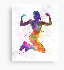 Woman runner jogger jumping powerful Canvas Print
