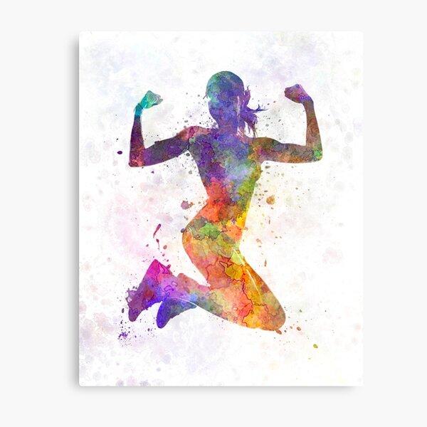 Woman runner jogger jumping powerful Metal Print