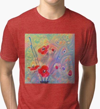 #Deepdreamed Poppies Tri-blend T-Shirt