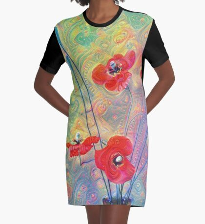 #Deepdreamed Poppies Graphic T-Shirt Dress