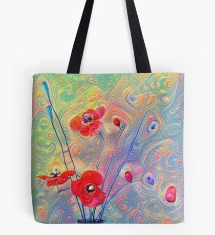 #Deepdreamed Poppies Tote Bag
