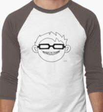 Superhero and nerd with braces and black glasses Men's Baseball ¾ T-Shirt