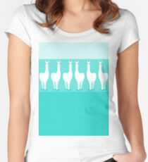 LLAMA ROW ON TURQUOISE Women's Fitted Scoop T-Shirt