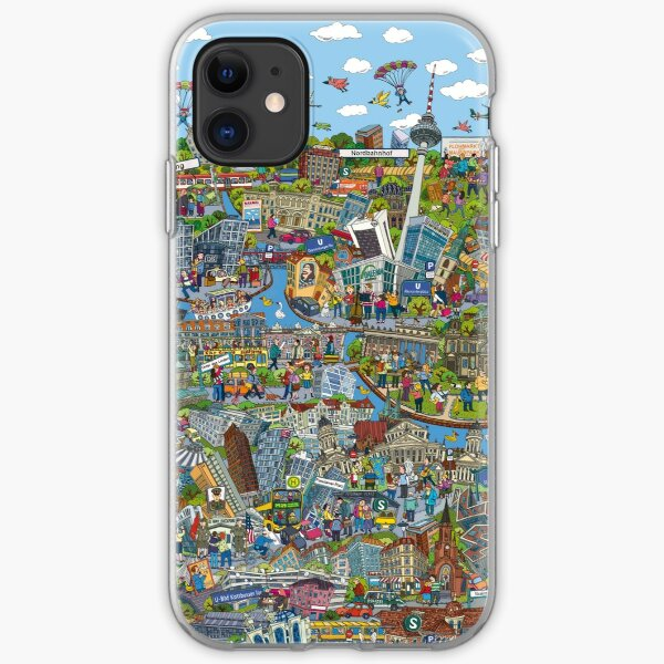 Illustrated map of Berlin iPhone Soft Case