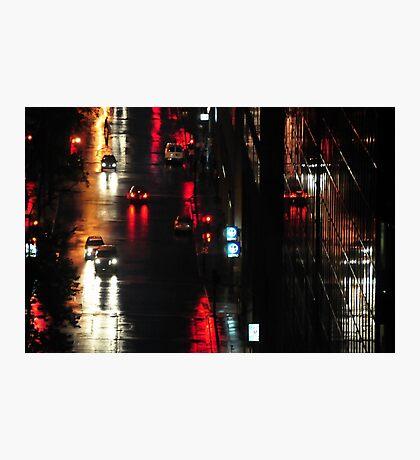 Montreal, night, rain. Photographic Print