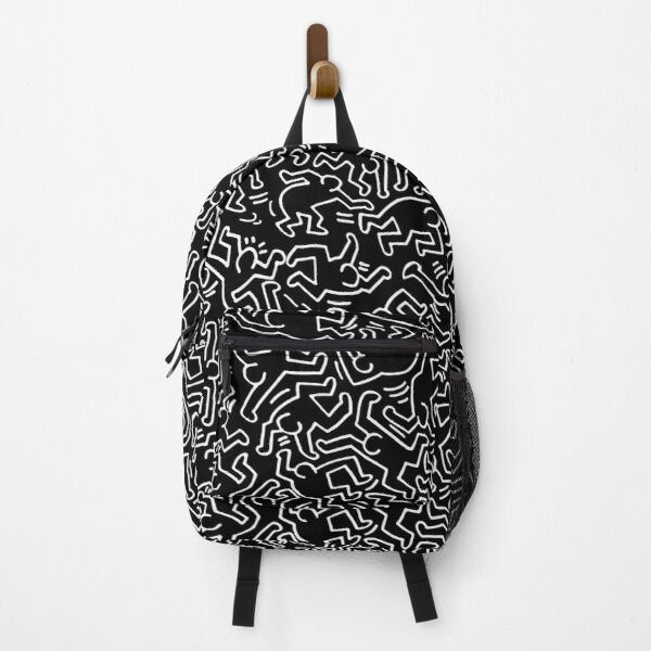 Keith Haring figures monochrome black and white reversed pattern Backpack