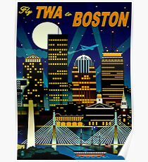 """""""TWA AIRLINES"""" Fly to Boston Advertising Print Poster"""