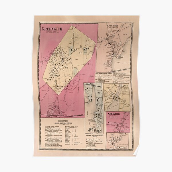 Old Greenwich CT Map (1867) Vintage Connecticut Town Atlas Poster
