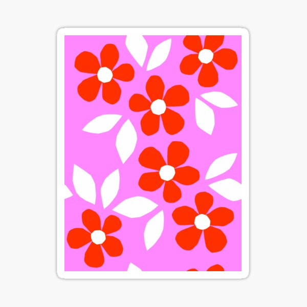 Copy of Bloom Happy - Retro Floral Collage Nº2 Red and Pink Sticker
