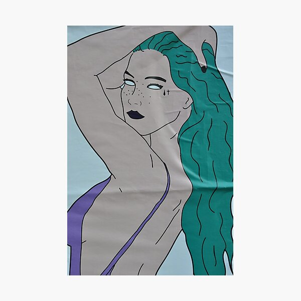 the strong beauty with the green hair Photographic Print