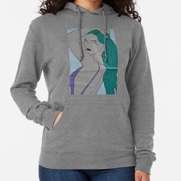 the strong beauty with the green hair Lightweight Hoodie